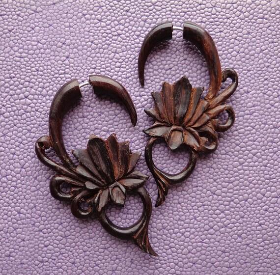 Malee hand carved tribal earrings lotus flower design