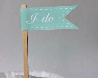 Mint Wedding Cupcake Flags - I Do Cupcake Toppers - 1 Dozen