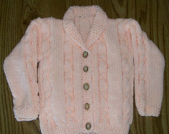 Peach Cable Cardigan with Wood Buttons