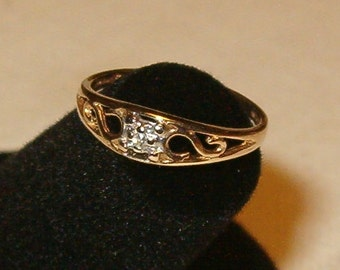 Baby Ring or Promise Ring for Necklace, 10kt with Tiny Diamond..about 2 or 3 points, Ornate Filagree