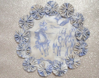 Cowboy Roundup Toile Doily Candle Mat