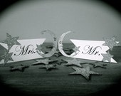Silver Glitter Wedding Seat Signs - Mr. And Mrs. - Moon and Stars