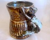 Ceramic cup, coffee mug, tea cup, sculptured handle, stoneware