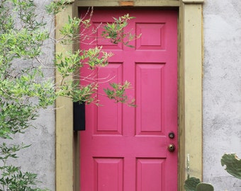 Pink door photo canvas, or print, Tucson photo, oversized print, colorful doors photo, pink and green