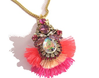 Luxury Swarovski Embroidered long Necklace  - fuchsia, pink, orchid and crystal ab tones