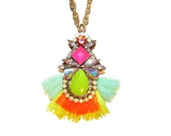 Luxury Swarovski Embroidered long Necklace  - neon pink, lime green and vivid coral tones