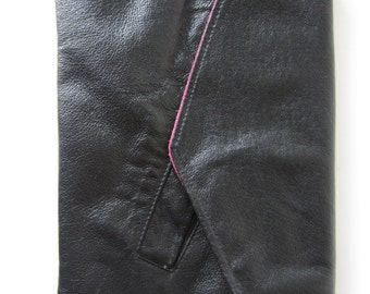 black leather envelope clutch with fuschia and black reversible flap
