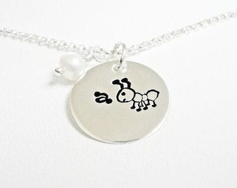 A For Ant - Handstamped Sterling Silver Jewelry Necklace Pendant Teacher Gift or an Ant Fan