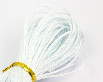 10 Yards 1mm White Wax Cord Korea Polyester Cord Poly Bracelet Thread Cord (LAXIAN22)