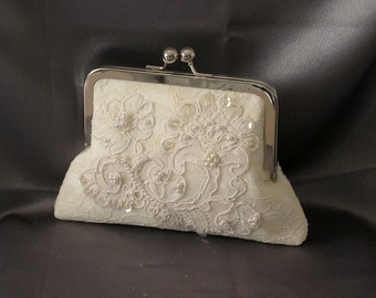 Wedding Bridal Handmade Framed Clutch Purse Ivory Vintage Lace Fabric Ready to Ship