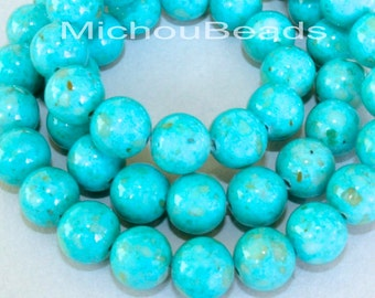 """8"""" Strand - 6mm AQUA Turquoise Natural RIVERSTONE - Round Opaque Natural River Stone Gemstone Bead - Instant Ship - USA Seller - Ref 4450"""