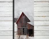 "Red Barn in Winter Snow - 20x60"" Canvas Print - Winter photography - Winter art - Large Winter art - Winter decor - Barn in snow"