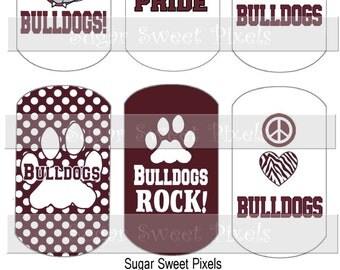 INSTANT DOWNLOAD Maroon  Bulldogs School Mascot Digital Dog Tag Images 4x6 sheet