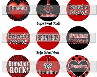 INSTANT DOWNLOAD Bronchos Red Black 1 inch circle School Mascot Bottle cap Images