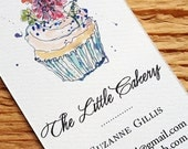 Business Card with Cupcake Illustration,Bakery Business Card, Set of 50