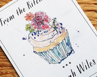 Personalized Cupcake Labels  From the Kitchen of  Set of 18