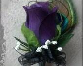 Purple plum PEACOCK feather Boutonniere rose Groom groomsman bridal silk wedding flowers eggplant black