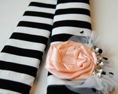DSLR Padded Camera Strap Cover with Lens Cap Pocket and Flower Corsage-Black and White Striped