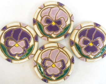 Mosaic Tile Coasters PANSIES Handmade Ceramic Stoneware Floral Pansy Art Lavender and Purple Set of 4