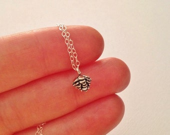 Tiny Pine Cone Necklace in Sterling Silver -Silver Pinecone Necklace