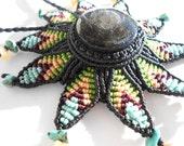 Macrame flower necklace with obisidan stone