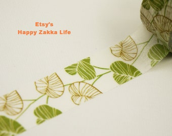 Tender Leaves - Japanese Washi Masking Tape - 11 yards