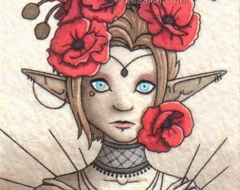 ACEO Fantasy Art Print- Needles - Limited Edition Print - Fantasy Elf Art