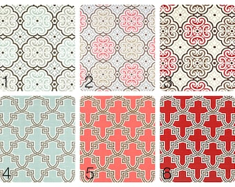 Trellis and Medallions Curtain Panels 63, 84, 96, 108 lengths. Coral Bittersweet, Snowy Blue, Cherry Red. Drapes