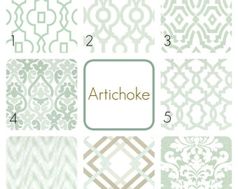 Artichoke Green Curtain Panels. 25 or 50 Inch Widths. 63, 84, 96, 108, 120 Lengths. Light Green Window Treatments. Drapery Curtains.