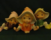 VINTAGE Set of 3 Elves - 1960s or 70s Sweet mischievous faces but looking oh so innocent - 3 different poses, peach, green, lavender outfits
