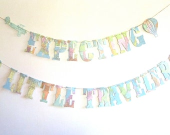 Map Baby Shower, Airplanes, Travel Theme Shower, Nursery, Baby Shower Banner, Vintage Travel Theme, Map Theme, Banner, Garland, Twins Shower