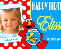 Elmo & Dorothy Personalized Custom Artist Vinyl Birthday Banner optional large photo polkadots polkadot design or circular photo design