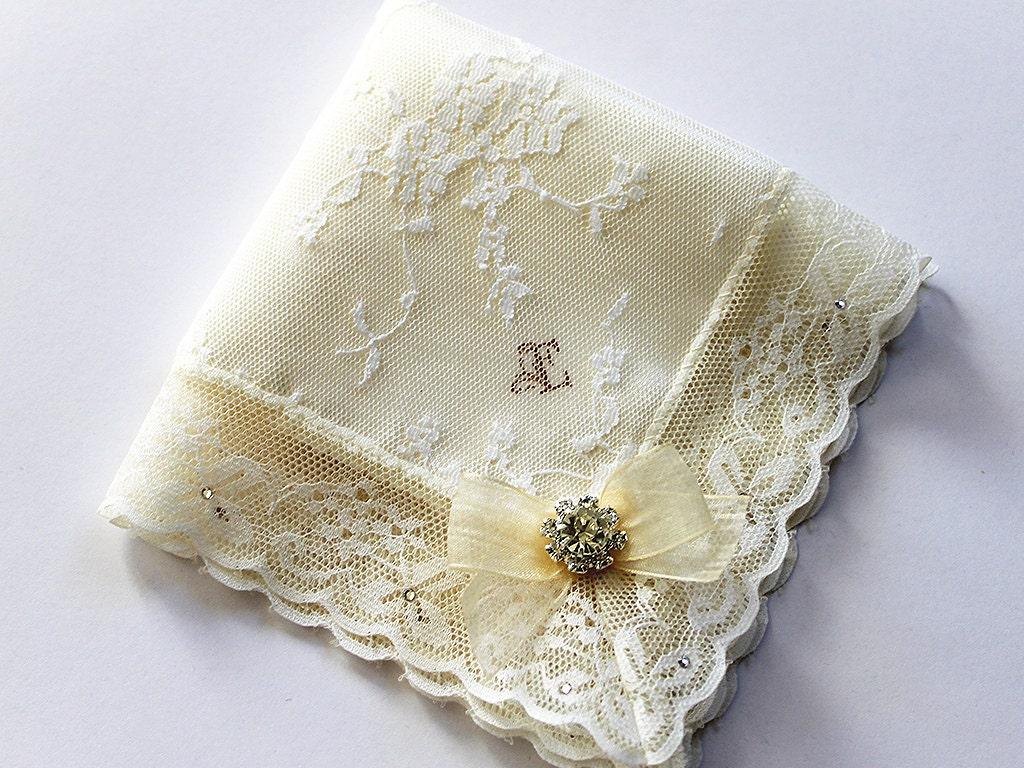 Monogrammed Bride Handkerchief Initial Handkerchief Something