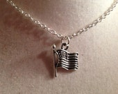 Flag Necklace Silver Jewelry Children's Jewellery Chain Patriotic