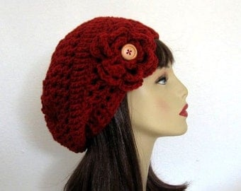 Maroon Slouch  Hat with Flower Dark Red Slouchy Hat Slouch Beanie  Red Cap Slouchy knit Beret Maroon Tam Cranberry Slouch Hat Slouchy Beret