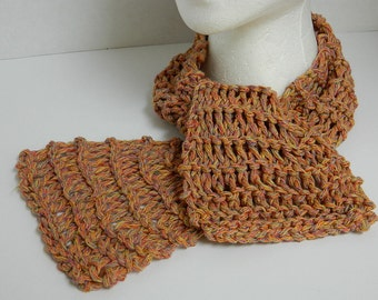 Open Weave Handknit Scarf - Light Weight Ladies Scarf - Multi Colored Yarn - Brown Peach Tan Color - Women's Accessories - OOAK Neck Scarf