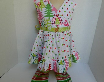 Girls Christmas Outfit Holiday Girls Clothes Girls Size 3 Toddler Outfit Red and Green Polka Dots and Stripes Christmas Party Outfit Twirl