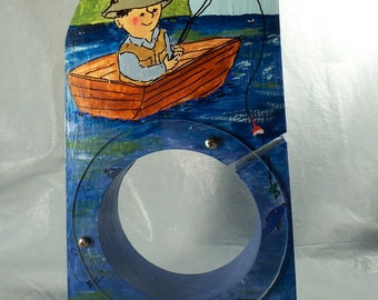Moving Sale - Fisherman on a boat Wooden Bank