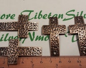 4 pcs per pack 50x30mm Sideways Hammered Cross link Antique Copper Finish Lead Free Pewter