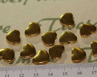 12 pcs per pack 12x10mm medium Heart Beads Antique Gold Lead Free Pewter