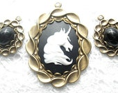 Three Piece Set - Black and White Unicorn Cameo Pendant with Smaller Black Onyx Pendants