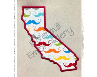 State of California Applique Machine Embroidery Design - 4 Sizes