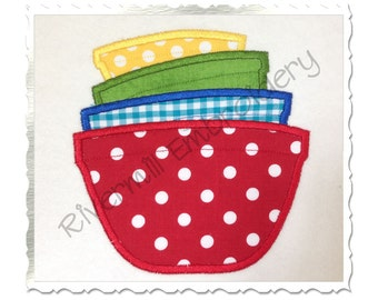Applique Stacked Mixing Bowls Machine Embroidery Design - 4 Sizes