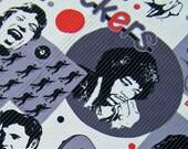 Wall Hanging, baby quilt, playmat, baby boy quilt, Jim Morrison, Jimi Hendrix, John Lennon, Mick Jagger, Elvis, black, grey, white, red