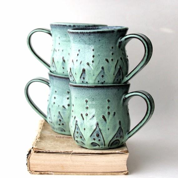 Mediterranean Style Dinnerware: Mediterranean Ceramic Coffee Cup Mug Set Of 4 By
