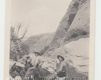 Vintage/Antique beautiful photo of three men on a horse on the side of the mountain