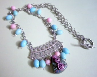 Victorian Look Necklace, Roses, Silver Filigree, Clay Focal, Pastel Colors, OOAK