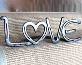 Horseshoe LOVE Sign, free standing, can be engraved, western decor, wedding or 11th 2004 anniversary gift *