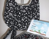 Music Note Bib Pacifier Clip and Baby Booties Set 0-3 Months Unisex Girls Or Boys