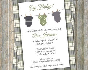 Onesie Baby shower Invitation, oh baby shower, green and gray plaid, Digital, Printable file